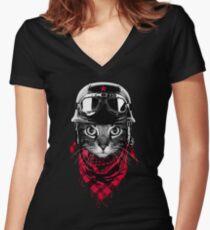 Camiseta entallada de cuello en V Gato aventurero