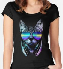 Music Lover Cat Women's Fitted Scoop T-Shirt