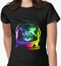 Astronaut Cat Womens Fitted T-Shirt