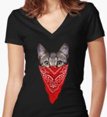 Gangster Cat Women's Fitted V-Neck T-Shirt