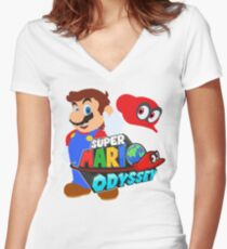 Super Mario Odyssey  Women's Fitted V-Neck T-Shirt