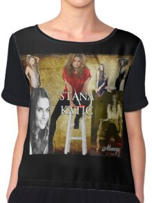 Stana Katic Chiffon Top