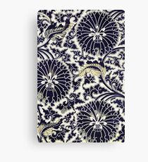 Indigo Blue Traditional Asian Floral Pattern Shirts And Gifts Canvas Print