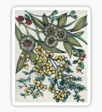 Retro Australian Native Floral Sticker