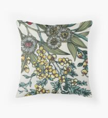 Retro Australian Native Floral Throw Pillow