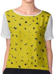 Yellow and Black Chiffon Top