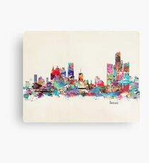 detroit skyline watercolor Metal Print