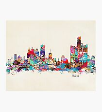 detroit skyline watercolor Photographic Print