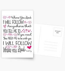 Where You Lead, I will Follow, Gilmore Girls Quote Postcards