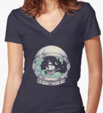 Spaceship Women's Fitted V-Neck T-Shirt