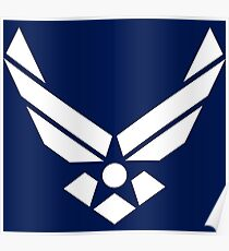 United States Air Force Logo, White Poster