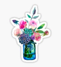 Watercolor mason jar flowers Sticker
