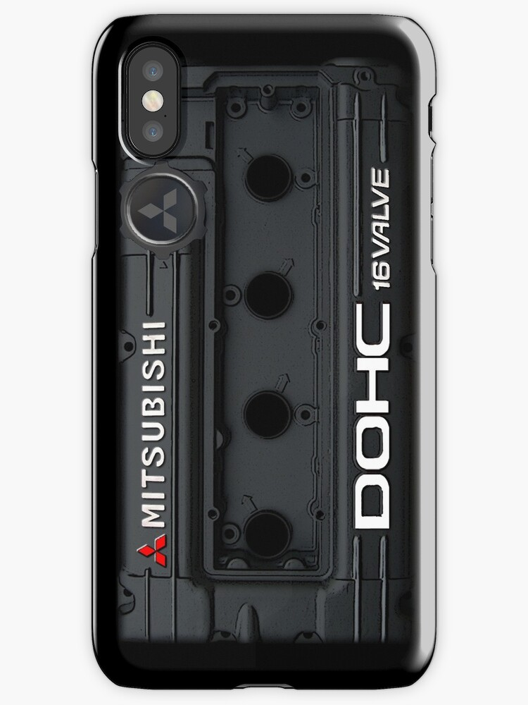 4g63 MITSUBISHI Valve Cover - iPHONE - BLACK by Hector Flores