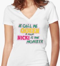 Nicki Minaj - Call Me Queen Women's Fitted V-Neck T-Shirt