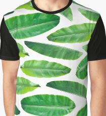 Banana Leaf Pattern on White Graphic T-Shirt