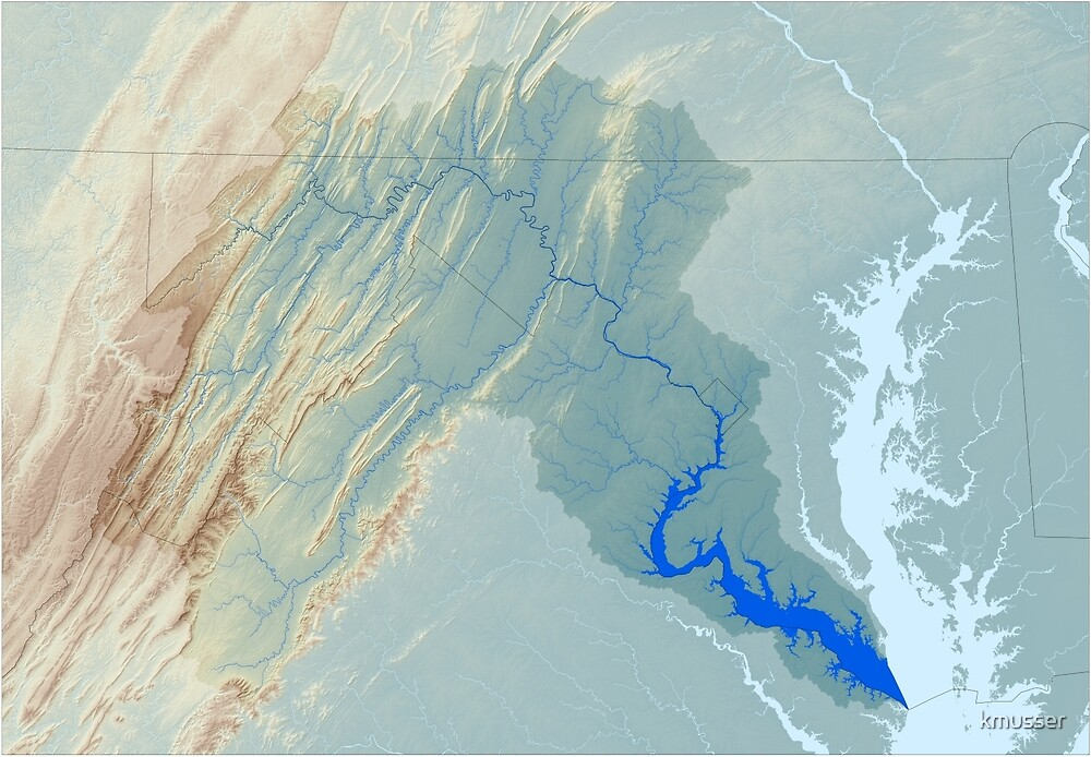 Potomac River Watershed Map - Raw Landscape by kmusser