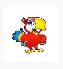 Cute cartoon colorful macaw Photographic Print