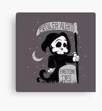 Cute cartoon grim reaper with scythe Canvas Print