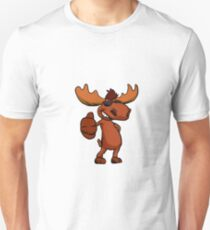 Cute moose cartoon waving. Unisex T-Shirt