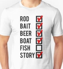 Fishing Check Off List Mens Unisex T-Shirt