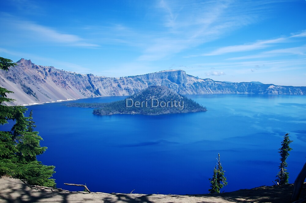 Color view of Crater Lake Oregon by Deri Dority