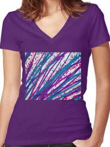 Psychedelic Splash  Women's Fitted V-Neck T-Shirt