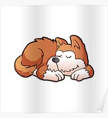 Cute puppy cartoon sleeping Poster