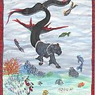 Sea Ocean Panther with Magic Fish and Unicorns by Stephanie Small