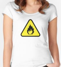 Flammable Caution Sign Women's Fitted Scoop T-Shirt