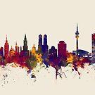 Munich Germany Skyline by Michael Tompsett