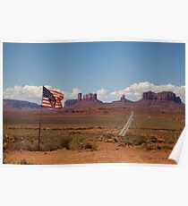 Monument Valley and the American Flag Poster