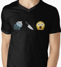 Psycho Emoji Graphic Mens V-Neck T-Shirt