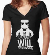 Danger Will Robinson Women's Fitted V-Neck T-Shirt