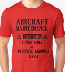 Aircraft Maintenance Caution Flying Tools   Offensive Language L Unisex T-Shirt