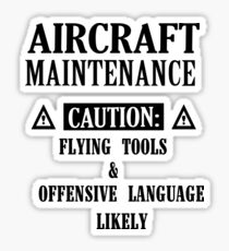 Aircraft Maintenance Caution Flying Tools   Offensive Language L Sticker