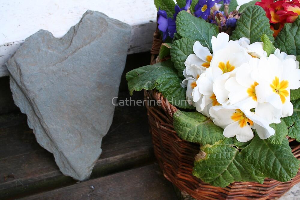 Pansies and a heart stone by Catherine Hunt