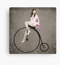 Pin-up on Penny Farthing Canvas Print
