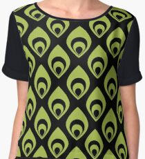 Black and Green Curve Pattern Chiffon Top