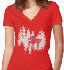 oh deer, what the bug?! Women's Fitted V-Neck T-Shirt
