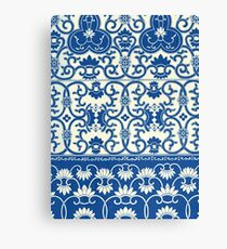 White And Blue Antique Ethnic Chinese Floral Flowers Pattern Prints Canvas Print
