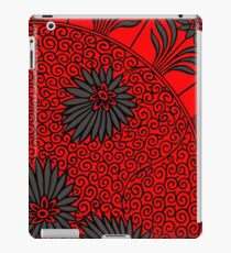 Red And Black Retro Floral Prints Pattern - Antique Asian Drawing iPad Case/Skin