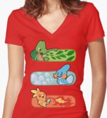 Pokemon / Hoenn Starters - Omega Ruby Women's Fitted V-Neck T-Shirt