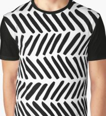 Black and White Abstract Herringbone Graphic T-Shirt