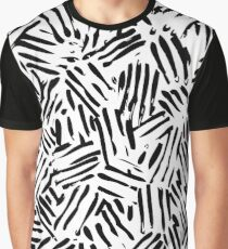 Abstract Black and White Stripe Graphic T-Shirt