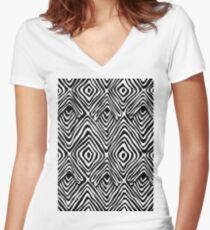Abstract Black and White Diamond Women's Fitted V-Neck T-Shirt