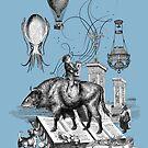 Boy riding buffalo fish by Fancy Brand by Denys Golemenkov