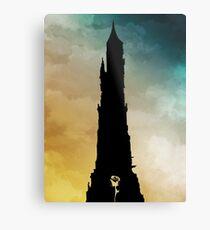 Dark Tower and Rose Metal Print