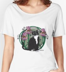 Black and White Cat with Irises Women's Relaxed Fit T-Shirt