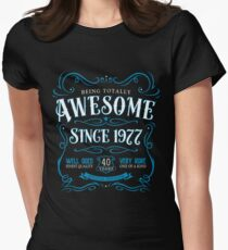 40th Birthday Gift Awesome Since 1977 Blue Womens Fitted T-Shirt