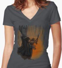 Sauron's Marshmallow Break Women's Fitted V-Neck T-Shirt